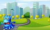 stock photo of long winding road  - Illustration of a monster running at the road near the buildings - JPG