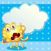 Illustration of an ugly monster in front of the empty cloud template