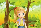 stock photo of hollow log  - Illustration of a young girl near the trees - JPG