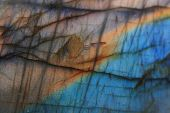stock photo of labradorite  - blue and yellow labradorite texture as natural mineral background - JPG