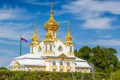 PETERHOF, RUSSIA - JUNE 22, 2012: Church of Saints Peter and Paul in Peterhof, St Petersburg, Russia