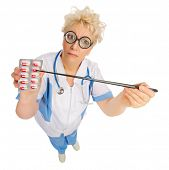 Funny doctor with pointer and pills isolated