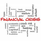 Financial Crisis Word Cloud Concept In Red Caps