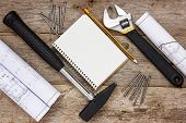 Постер, плакат: Construction Tools With Technical Drawing