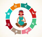 picture of artificial insemination  - Pregnancy and birth infographics and icon vector set - JPG