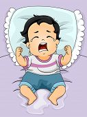 stock photo of crying boy  - Illustration of a Baby Boy Crying Out Loud After Wetting His Bed - JPG