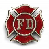 stock photo of fire brigade  - Red Cross Fire Fighter Symbol Isolated on White Background - JPG