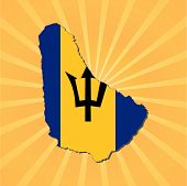 Barbados map flag on sunburst vector illustration