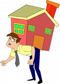 Desperate looking man in shirt and tie carrying a house on his back