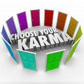 stock photo of karma  - Choose Your Karma Words Door Circle Choices Destiny - JPG
