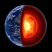 image of magma  - Earth core structure illustrated with geological layers according to scale  - JPG