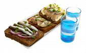 Composition with two glasses  of vodka, and  sandwiches wit salted fish, isolated on white