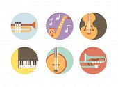set of 6 round icons with music instruments
