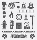 stock photo of fire brigade  - Collection of flat retro style firefighter icons and symbols - JPG