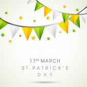 Happy St. Patrick's Day celebrations concept with stylish text on colorful decorated background.