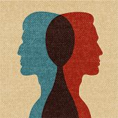foto of mans-best-friend  - Best friends heads blue red silhouettes vector illustration - JPG