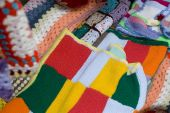Colour Plaid Wool Knit for cold weather on street market poster