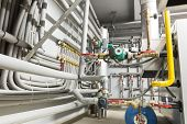 stock photo of boiler  - Pipes of the boiler room - JPG