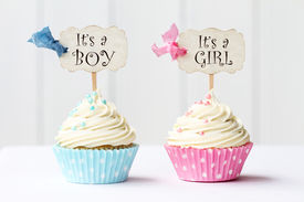 image of christening  - Baby shower cupcakes for a girl and boy - JPG
