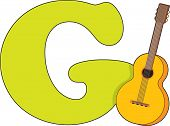 image of g-string  - The Letter G with a picture of a Guitar - JPG