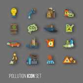 pic of radioactive  - Radioactive and carbon dioxide toxic waste human activity waste air water pollution icons set isolated vector illustration - JPG