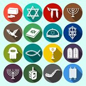 stock photo of hanukkah  - Jewish church traditional religious symbols flat icons set with torah david star dreidel isolated vector illustration - JPG
