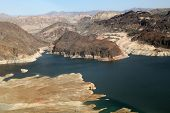 picture of drought  - Lake Mead reservoir with drought visible on the Colorado River in Nevada and Arizona in the USA - JPG