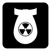 pic of nuclear bomb  - Bomb button on white background - JPG