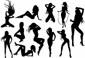 Image of vector illustration of a female stripper silhouettes.