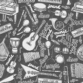 picture of clarinet  - Musical instruments and music elements chalkboard seamless pattern vector illustration - JPG