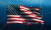image of under sea  - USA America Under Water Sea Flag National Torn Bubble 3D - JPG