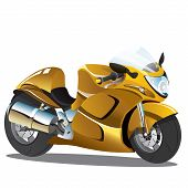 Постер, плакат: Golden Yellow Superbike Cartoon