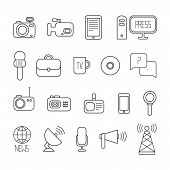 foto of mass media  - Set of flat colorful vector journalism icons - JPG