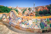 stock photo of gaudi barcelona  - The famous park Guell in Barcelona - JPG