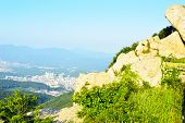 stock photo of long winding road  - Geumjeongsanseong Forest Fortress where there is a 18 - JPG