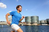 picture of copenhagen  - Runner running in urban Copenhagen city - JPG
