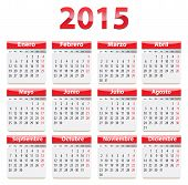 picture of weekdays  - Red glossy calendar for 2015 year in Spanish language - JPG
