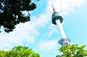 stock photo of seoul south korea  - Namsan N Seoul Tower stands 480 meters above sea level Seoul South Korea - JPG