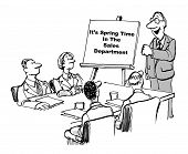 image of going out business sale  - Cartoon of business people in a meeting looking at their leader who is beside a chart stating it is spring time in the sales department - JPG