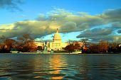 picture of cornerstone  - The US capitol in Washington DC at the sunset with reflection in the pond - JPG