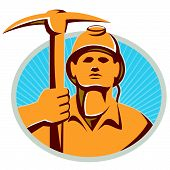 picture of ax  - Illustration of a coal miner facing front holding a pick ax set inside oval with sunburst done in retro style - JPG
