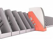 picture of trays  - Red paper tray stands out among the gray paper trays - JPG
