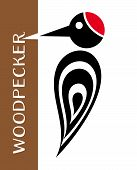 picture of pecker  - Vector stylized woodpecker icon with tree and lettering - JPG