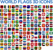 picture of flags world  - World country flags 3D and isolated square icons - JPG