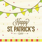 picture of saint patrick  - Elegant greeting card design with bunting decoration for Happy St - JPG