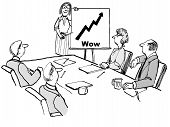 picture of beside  - Cartoon of businesspeople in a meeting looking at leader who is beside a chart showing business growth and the word  - JPG