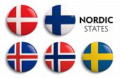 image of scandinavian  - Nordic Scandinavian counties state flags on white - JPG