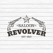 picture of revolver  - Vector logo engraving western revolvers - JPG