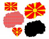 stock photo of macedonia  - map of Macedonia and the different types of characters on a white background - JPG