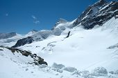 pic of firn  - Snow and peaks nearby Jungfraujoch pass in Alps in Switzerland - JPG